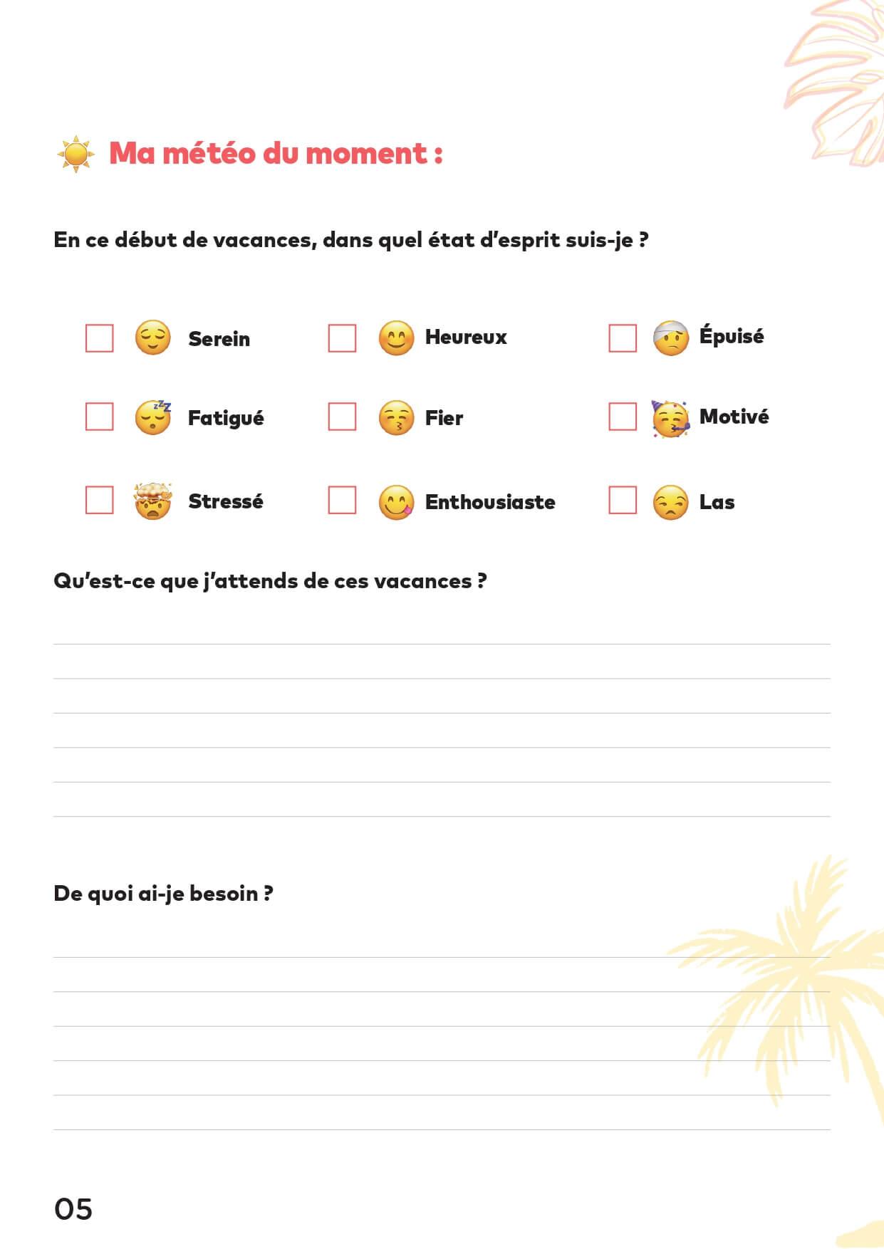 Page de questions version emojidu cahier de vacances Tactique pour les dirigeants, 100% entrepreneuriat
